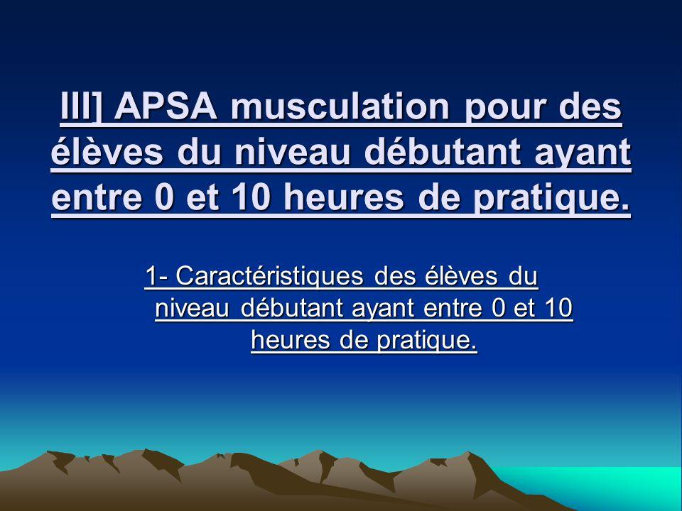 III] APSA musculation pour des élèves du niveau débutant ayant entre 0 et 10 heures de pratique.